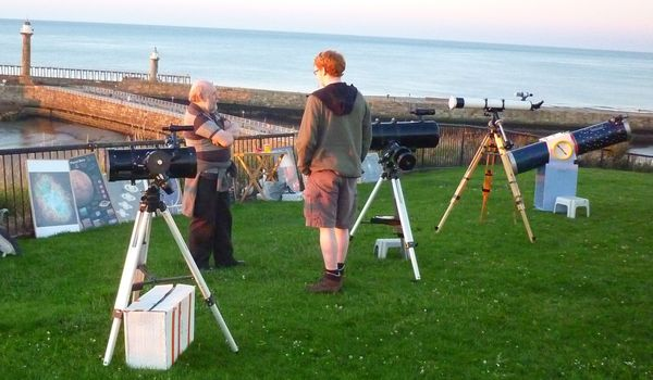 Picture of Keith and Lee and a variety of scopes, on West Cliff in full daylight.
